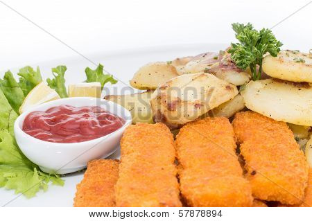 Portion Of Fish Fingers With Fried Potatoes