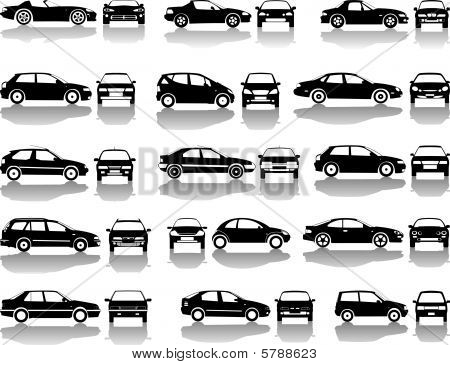 Black Set Of Cars Vector