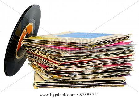 45 rpm vinyl discs stack