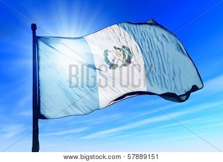 Guatemala flag waving on the wind