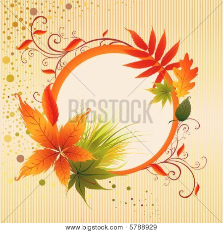 Vector frame with colorful Autumn Leafs. Thanksgiving