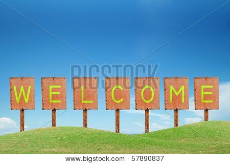 Welcome Sign And Metal Lable