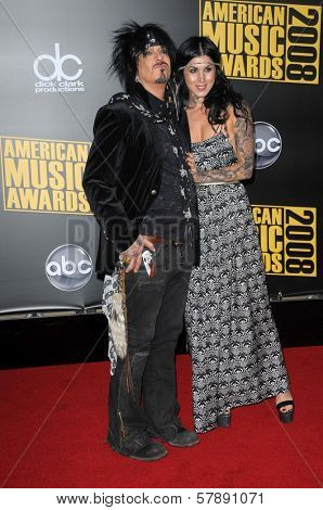 Nikki Sixx and Kat Von D  at the 2008 American Musica Awards. Nokia Theatre, Los Angeles, CA. 11-23-08