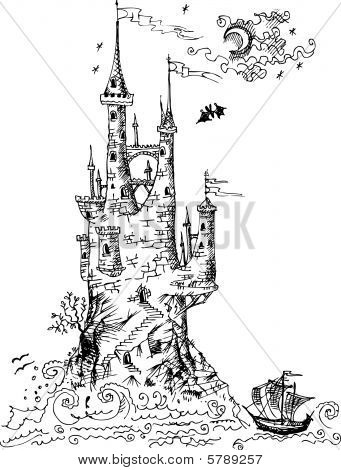 Old Gothic castle from fairytale