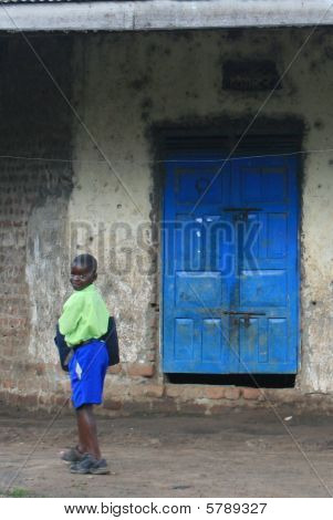 Little boy blue off to school