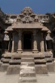 picture of ellora  - Buddhist temples bored in rocks in the Ellora town in India Maharashtra India  - JPG