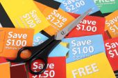 image of thrift store  - Cutting coupons in different colors and price ranges from free to a few dollars  - JPG
