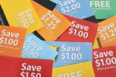 pic of thrift store  - Cutting coupons in different colors and price ranges from free to a few dollars  - JPG