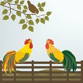 pic of bird fence  - Bird on the fence in vector art and illustration - JPG