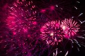 image of guy fawks  - Pink fireworks exploding at night during Guy Fawkes - JPG