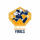 image of scat  - Illustration of an american football gridiron running back player running with ball facing front fending putting out a stiff arm set inside shield done in retro style with words Conference Finals - JPG