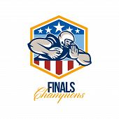 pic of scat  - Illustration of an american football gridiron running back player running with ball facing front fending off with arm set inside USA stars and stripes crest shield done in retro style with words Finals Champions - JPG