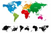 stock photo of continent  - World map with colorful continents Atlas  - JPG