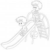 picture of chute  - Kids sliding down on a children - JPG