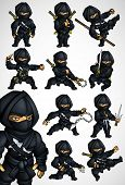 foto of black-belt  - Set of 11 Ninja fighting postures in a black suit with arms and without - JPG