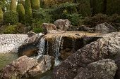 stock photo of bonnes  - Waterfall in a japanese garden in Bonn - JPG