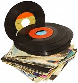 A pile of 45 RPM vinyl records used poster