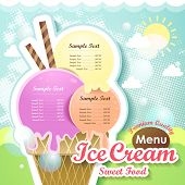 picture of gelato  - restaurant ice cream menu cover vector design template - JPG