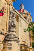 image of gozo  - Statue near the Sannat parish dedicated to St Margaret of Antioch - JPG