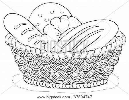 Bread in a basket, contour