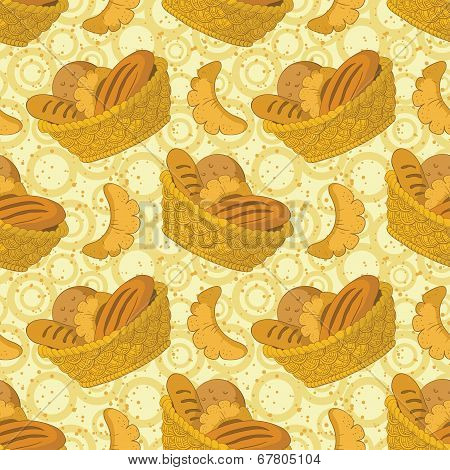 Seamless background, bread in a basket