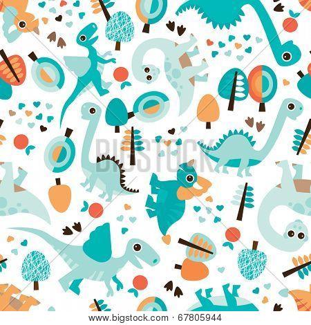 Seamless baby blue dinosaur illustration kids background pattern in vector
