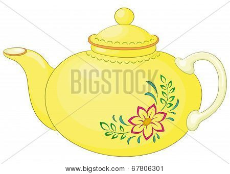 Teapot with flower pattern