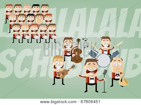 funny cartoon music band and choir