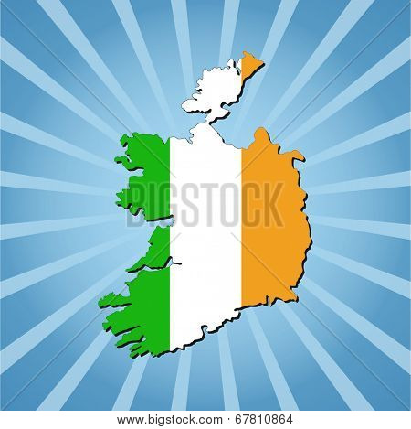 Ireland map flag on blue sunburst illustration