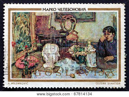 Postage Stamp Yugoslavia 1973 Interior, Painting By Marko Celebonovic