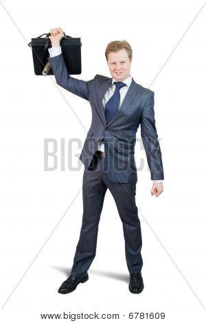 Happy Businessman Holding Brief Case