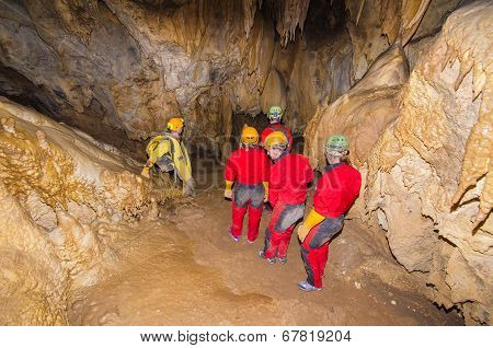 A group of tourist in the cave