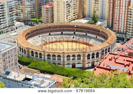 Bullring fight arena in Málaga Andalusia Spain.