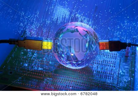 Internet technology earth globe