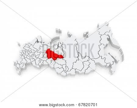 Map of the Russian Federation. Khanty-Mansi Autonomous Okrug - Yugra. 3d