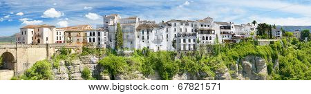 Panoramic view of Ronda houses on top of the cliff Ronda Malaga Andalusia Spain.