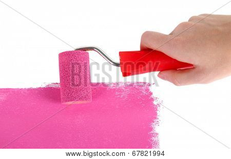 Roller brush with pink paint in hand closeup