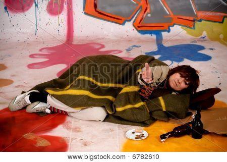 Graffiti urbano de Tramp feminino