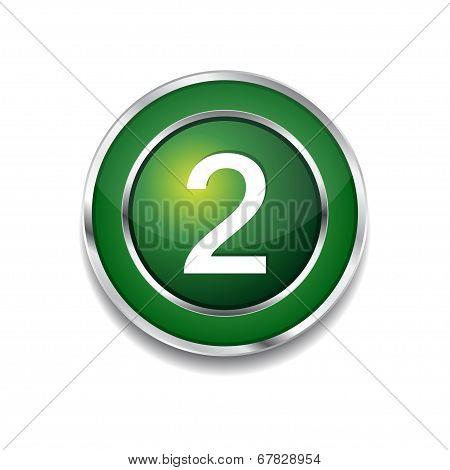 2 Number Circular Vector Green Web Icon Button