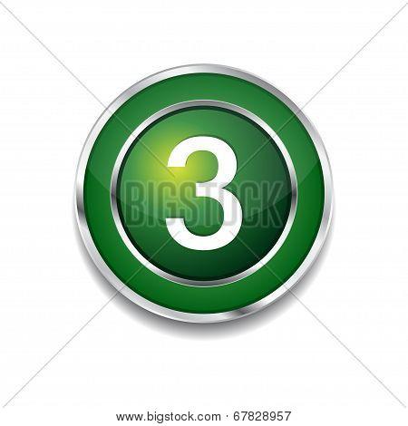 3 Number Circular Vector Green Web Icon Button