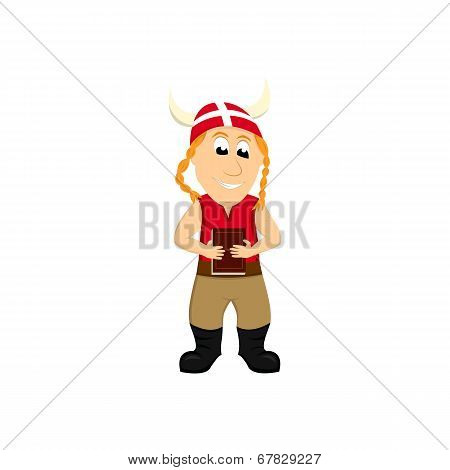 Cartoon illustration of a Dane viking holding a book