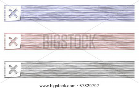 Set Of Three Banners With Pattern Crumpled Paper And Ban Symbol