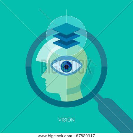 Vision flat design icon concept.
