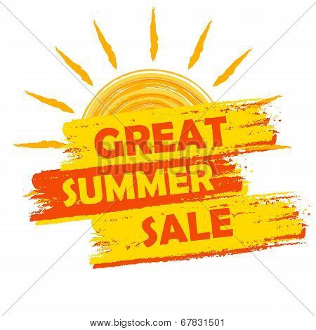 Great Summer Sale With Sun Sign, Yellow And Orange Drawn Label