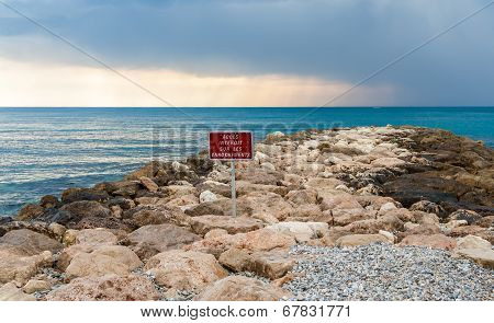 Riprap In The Mediterranean Sea - Menton -  France