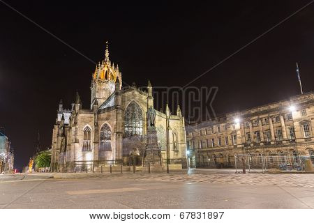 Facade of St Giles Cathedral  by night