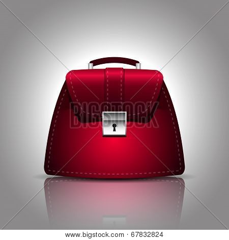illustration of a burgundy women female handbag