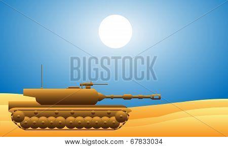 Modern Heavy Tank In Desert