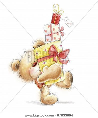 Teddy bear with the gifts.Childish illustration in sweet colors.Background with bear and gifts. Hand