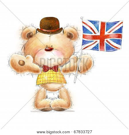 Cute Teddy bear with the  UK flag in the hat.Greeting card with cute Teddy